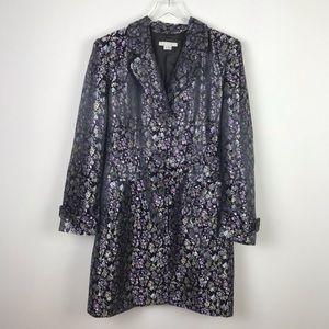 Vintage | Purple Floral Shiny Blazer Coat